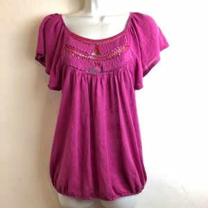 free people Crochet neck purple red linen Shirt S